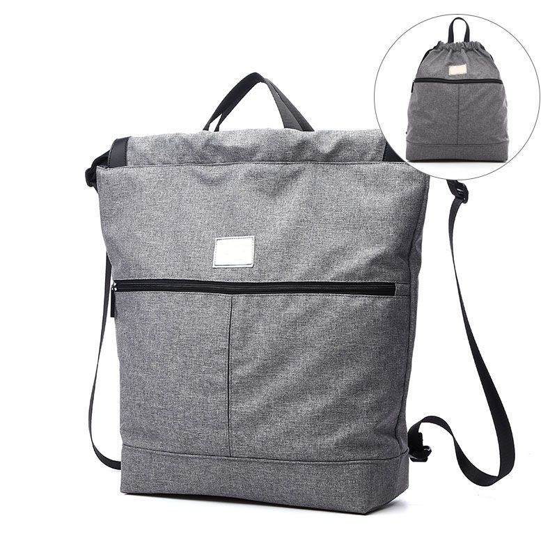 2018 new arrival drawstring rolltop backpack manufacturer in black and gray