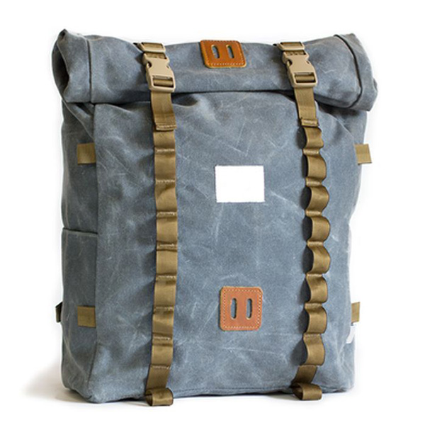 Waxed Canvas leather roll top backpack wholesaler mens rolltop backpack provide customized service