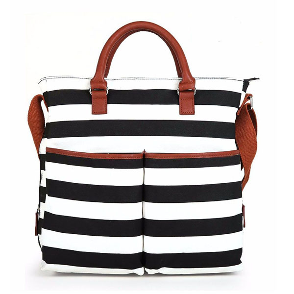 baby black and white stripe diaper bag Diaper Tote Bag for Moms and Girls-backpack wholesaler