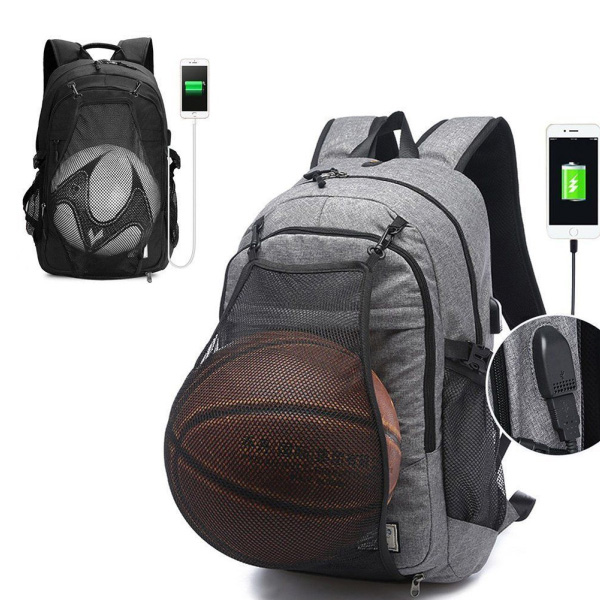 Water Resistant Sports Backpack wholesaler with Basketball Net and USB Charging Port