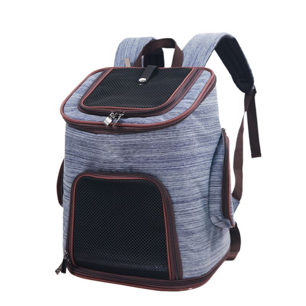 Denim Pet Carrier Backpack factory with Waist Strap for Camping Cycling Hiking Mesh Top Opening
