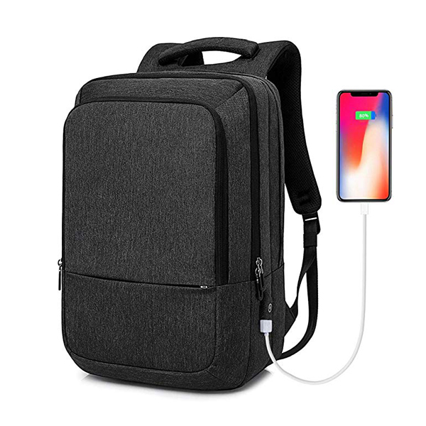 Anti-Theft Business Laptop Backpack factory with USB Charging Port Fits 15.6 inch Notebook, Black