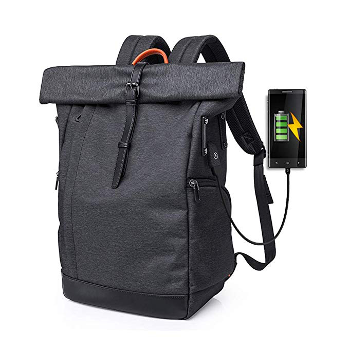 Waterproof Roll-top Backpack factory 15.6/16 Inch for Men and Women with USB Port (Black)