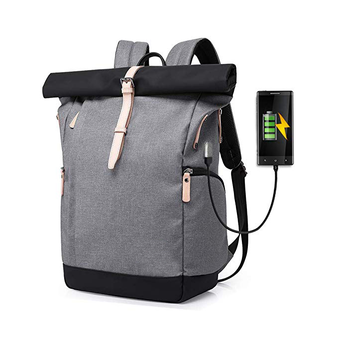 Roll-top Anti-theft Backpack factory 15.6/16 Inch with USB Port Gray