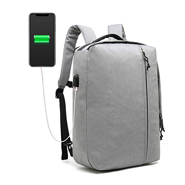 3 Way Men's Business Backpack factory with USB Charging Port Flight Approved Weekender