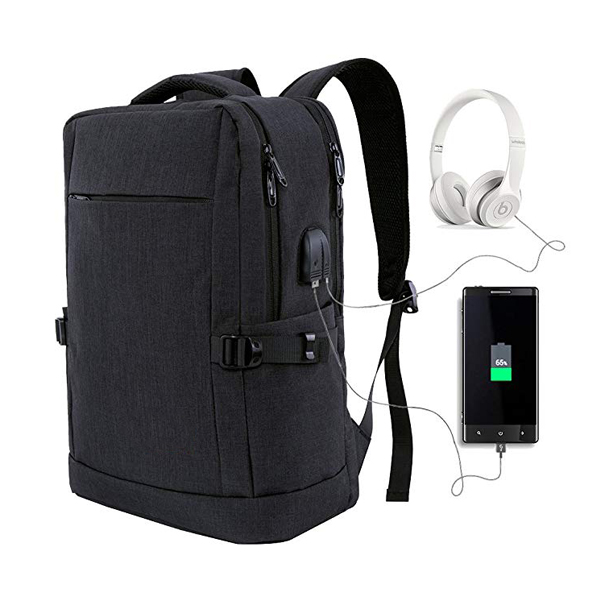 Water Resistant Travel Laptop Backpack factory with USB Charging Port and Headphone Port for Men/Women