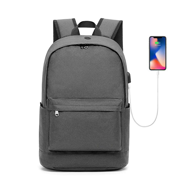 17 Inch Water Resistant Casual Tavel Backpack factory with USB Charging Port for Men Women -Gray
