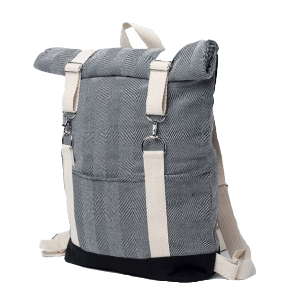 Personalized roll top backpack factory Black and white cotton canvas rucksack Fits 15.6 Inch Notebook