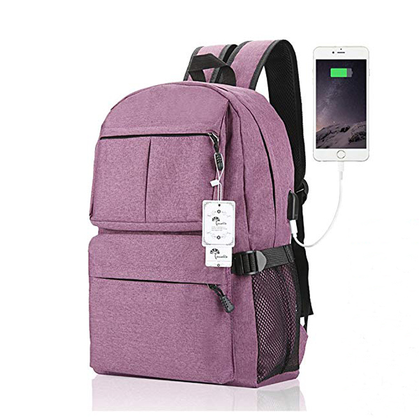 15.6 Inch Light Weight Travel Backpack factory with USB Charging Port For Women/Men