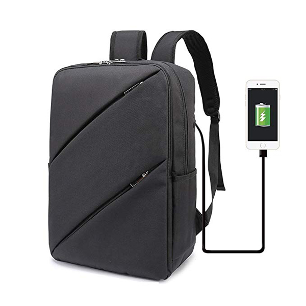 Lightweight Business Backpack factory with USB Charging Port for Women and Men Black