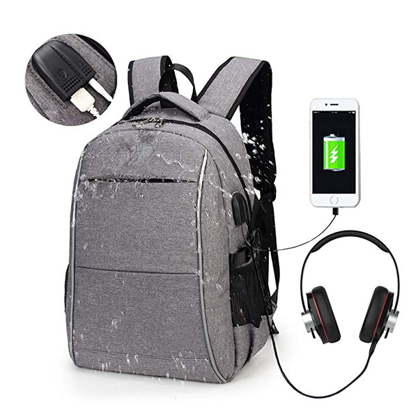 15.6 Inch  LightWeight Travel Backpack factory with USB Charging Port & Headphone Interface