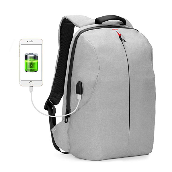 Lightweight Anti Theft Business Backpack factory Tear Water Resistant USB Charging Port Fit 15.6 Inch Laptop(Light Gray)