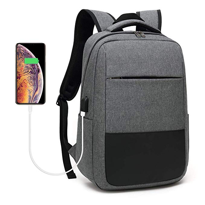 Slim Durable Laptop Backpack factory for Business, College (Grey) with USB Charging Port