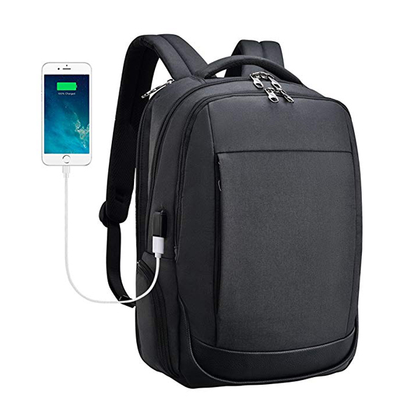 Water Repellent Travel Backpack Factory Detachable USB Port Tear Resisting 15.6 Inch Black