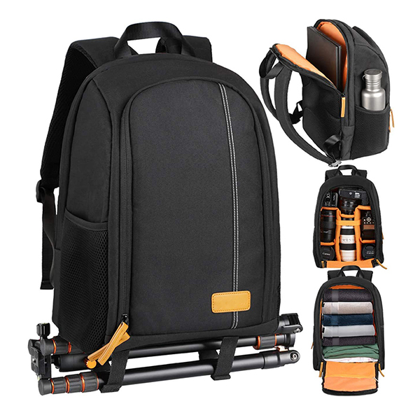 Camera Bag Large Capacity Camera Case with 15 Inch Laptop Compartment Rain Cover Factory